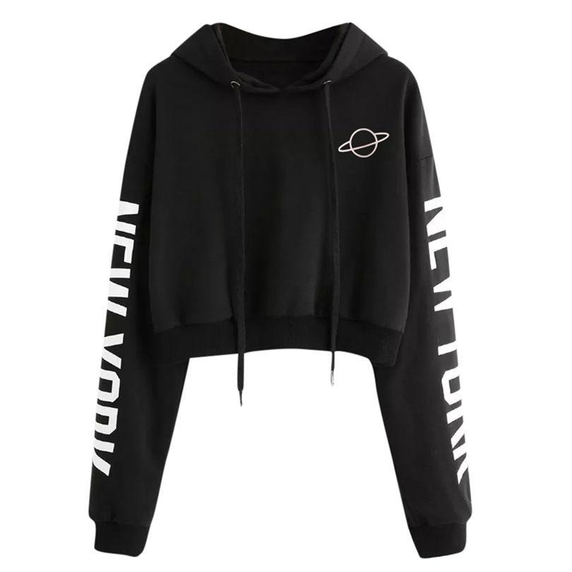 Crop Top Hoddies Womens Autumn Long Sleeve Hoodie Sweatshirt Letters Hooded Pullover Moletom Feminino Dropshipping 40AT24 sweatshirt