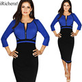Ladies Office Dress Plus Size Feminino O-neck Three Quarter Sleeve Slim Work To Wear Pencil Wrap Dresses Knee-length Vestidos