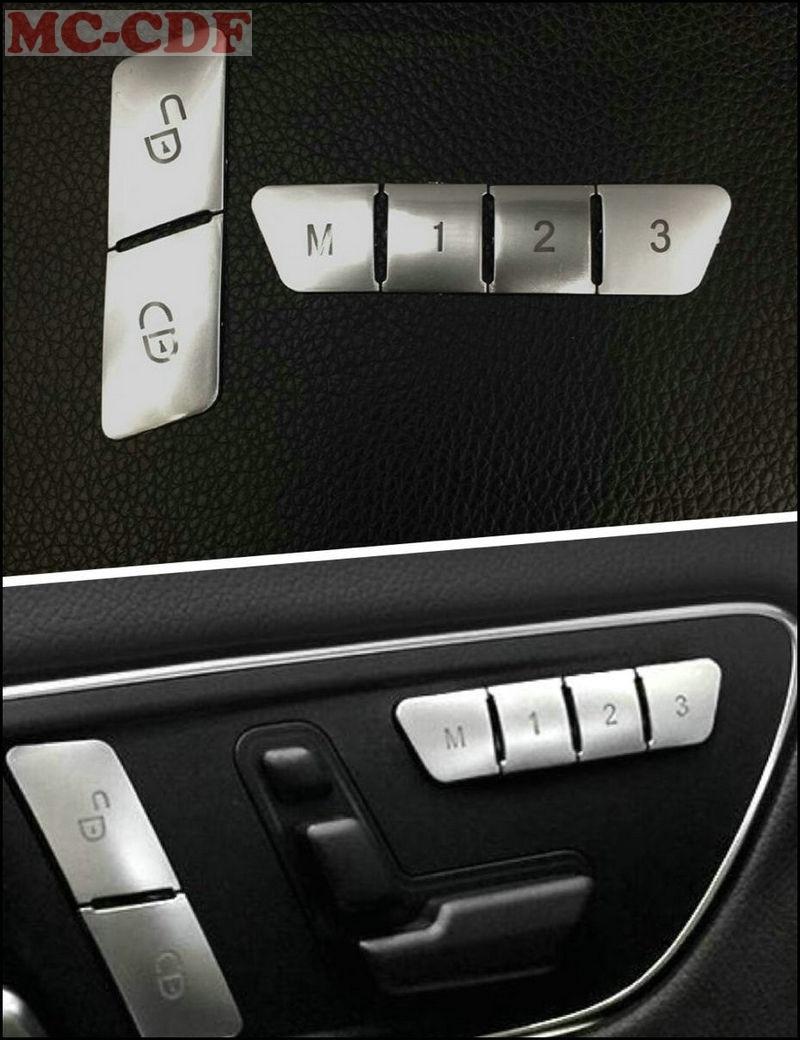 12pcs ABS Seat Memory Lock Unlock Switch Button Cover Trim For Mercedes Benz A B CLA/GLA E Class W212 GLK/GLE/ML/GL car steering wheel emblem stickers for benz a b e s gle glk gla