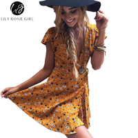 Lily Rosie Girl Women 2017 Deep V Neck Sexy Boho Style Summer Party Mini Dress Floral