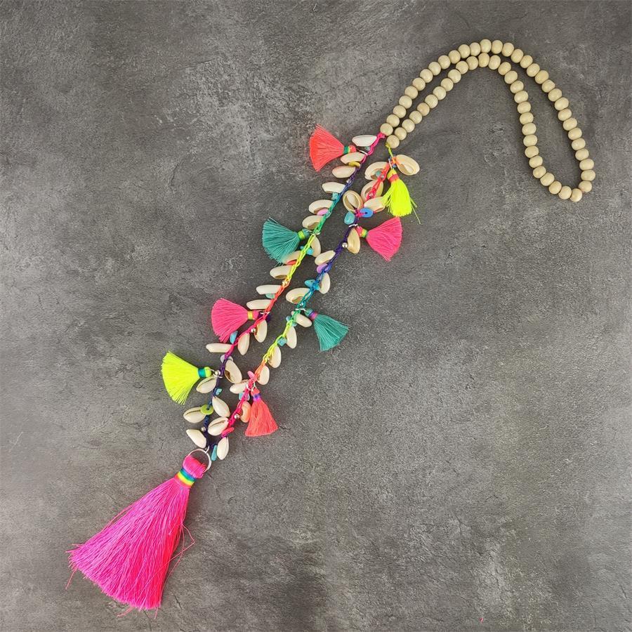 New Beach String Shell Handmade Necklace Women Bohemia Accessories Tassel Natural Shells Boho Rose Tassel Pendant Long Necklace
