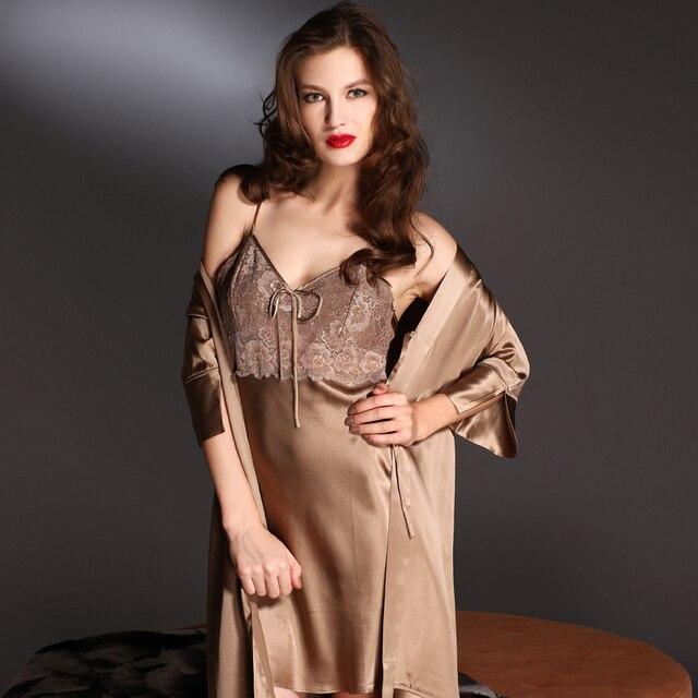 Lace V-neck suspender  three quarter sleeve chimar silk robe twinset sleepwear female de8629