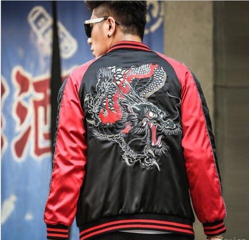 detallado 012bc efc2c Chaqueta japonesa para hombre Dragon Sukajan flight chaquetas Bomber  abrigos Outwear bordado