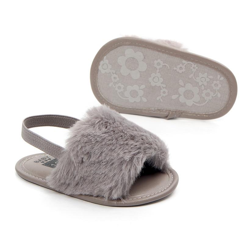 Купить с кэшбэком Princess Baby Girl Sandals Infant Soft Sole Anti-slip Summer Shoes Toddler Elastic Fur Loafers Meisje Sandalen Chaussure Fille