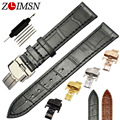 100% Genuine Leather 18 20 22 24mm Watchbands Black Alligator Grain Thin Watch Band Strap Relojes Hombre 2017 TB6