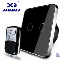 Jiubei Smart Switch, Black Crystal Glass Panel, EU Standard Remote Switch, Wall Light Remote Touch Switch, C702R-12&RMT01