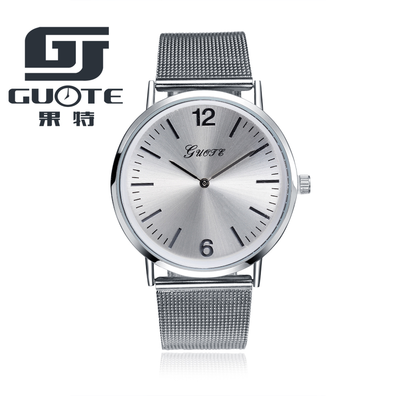 GUOTE Top Luxury Brand Quartz Watch Men Casual Japan Quartz-watch Stainless Steel Mesh Strap Ultra Thin Clock Male Reloj Hombre