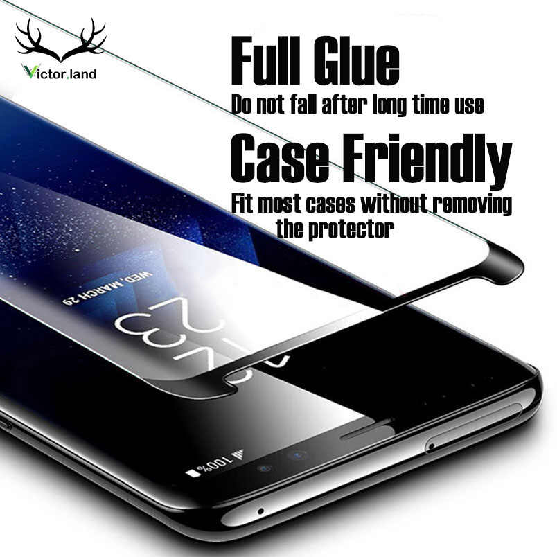 FULL GLUE Case Friendly Film Tempered Glass For Samsung galaxy S10 E Note 9 8 S10 E S9 S8 S7 Plus Curved Screen Protector 6D