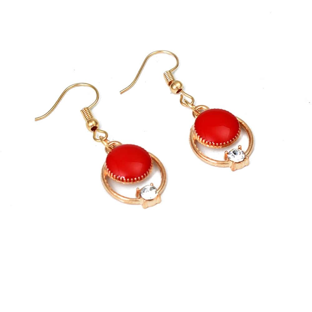Bing Tu Gold Color Jewelry Dangle Earring Red Green Black Enamel Round Drop Earrings Women Jewellery Accessories Charm Earings