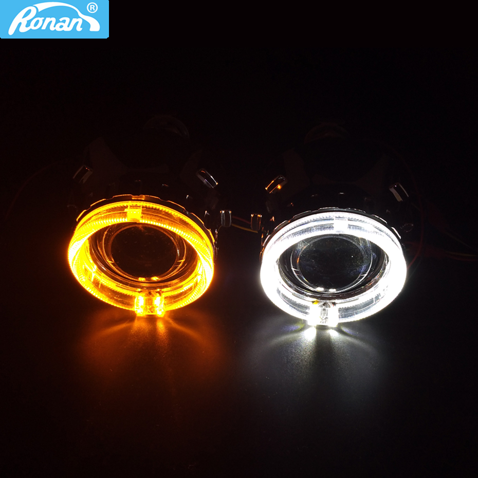 RONAN Bi Xenon HID Projector Headlight Lens use H1 LED Optic Eyes white switchback yellow Car