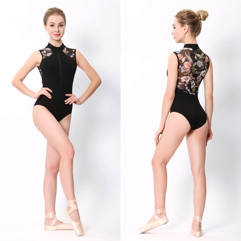 Ballet Dance Leotards Women 2019 New Style Printing Zipper Gymnastics Dancing Costume Adult High Collar Ballet Leotard