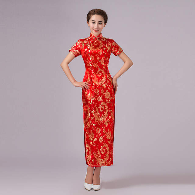 2a02322b0 Online Shop New Arrival Red Chinese Traditional Dress Women Silk ...
