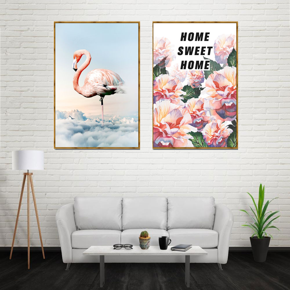 Canvas Painting Flower Nordic Poster Home Decor Pink
