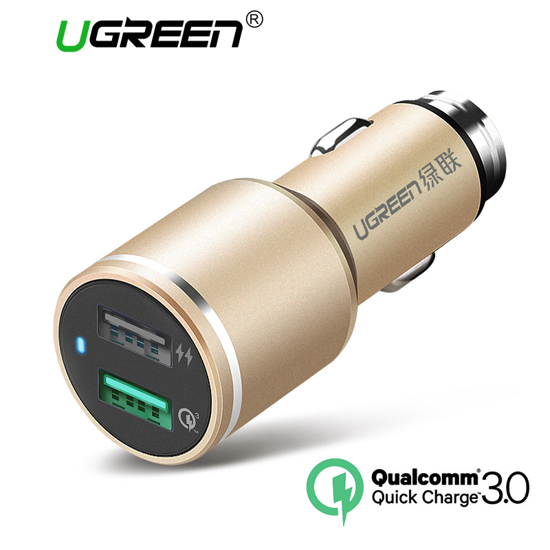 Ugreen USB Car Charger 2 Port Quick Charge 3.0 Car-Charger 4.8A Dual Fast Car Quick Charger for iPhone 6 5 Phone Samsung Xiaomi