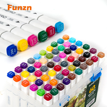 Funzn Oily Double-head Painting Marker Pen For Children Student School Stationary Design Office Art Supplies 12/24/36/48/60 Gift best double headed 30 40 60 80 colors nib student painting art school horticultural landscape design