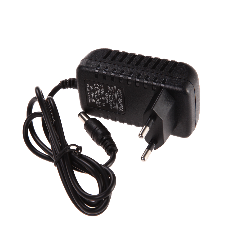 High Quality AC 100-240V Converter Adapter DC 9V 1A 1000mA Charger EU Plug With 1M Cable