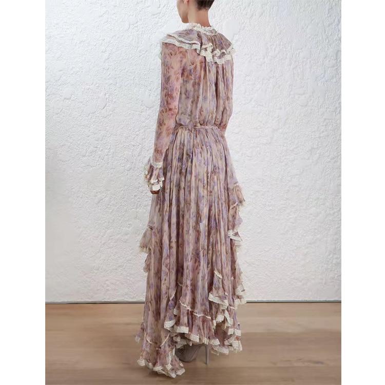 Women Long Sleeves Layered Cuffs Lavender Floral Print Asymmetrical Dress Silk Maxi Dress 4
