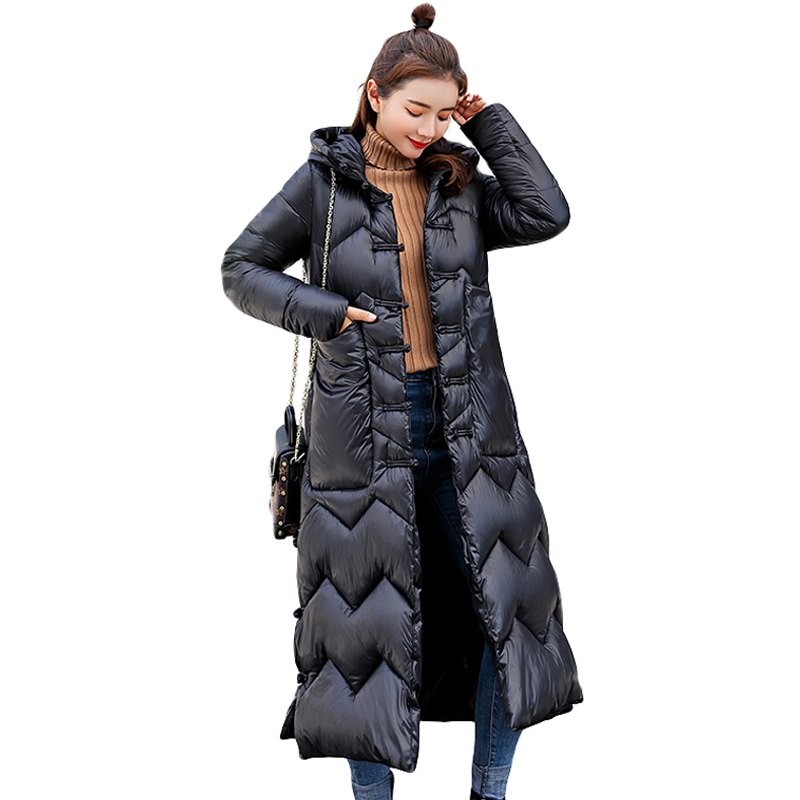 2018 down   parkas   female winter coat new style x-long bread clothing loose large size solid color cotton warm girls cotton jacket