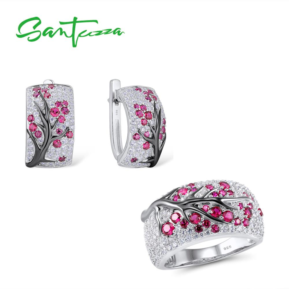 SANTUZZA Silver Jewelry Set for Women Shiny Pink Tree Earrings Ring Set Pure 925 Sterling Silver