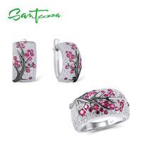 SANTUZZA Silver Jewelry Set for Women Shiny Pink Tree Earrings Ring Set 925 Sterling Silver сережки кольца Fashion Jewelry