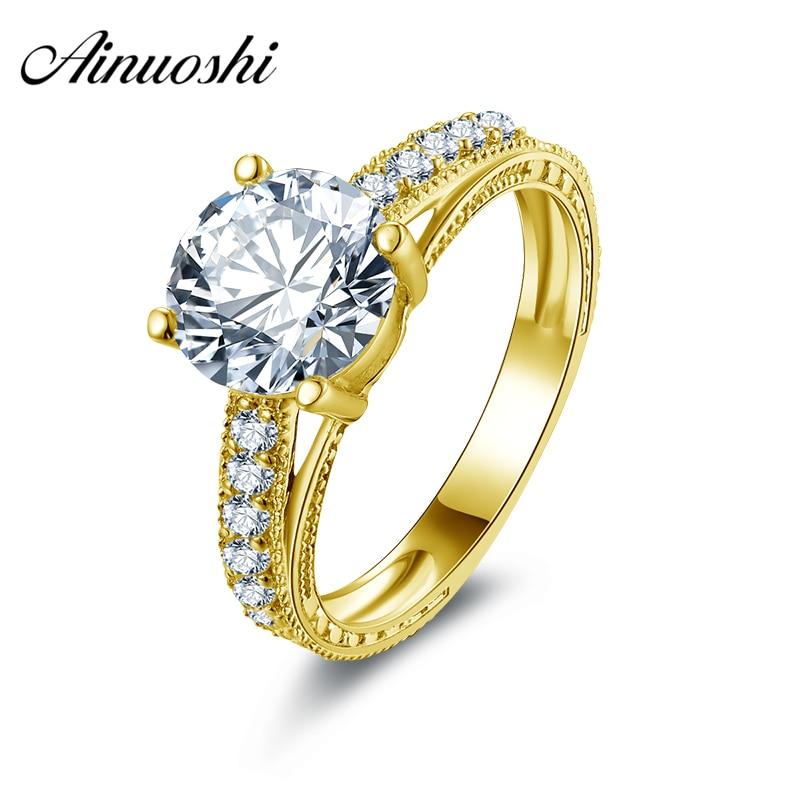 Ainuoshi 10 К твердого желтого золота 2 карат Обручение кольцо круглой огранки Имитация Алмазный обручальное кольцо для невесты Индивидуальные ...