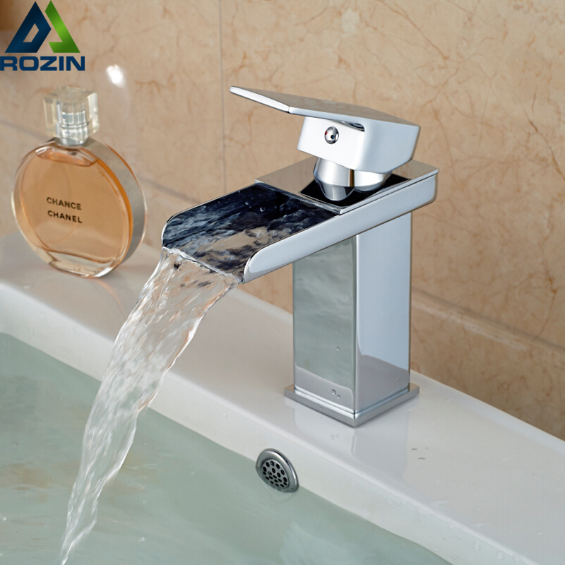 Chrome Waterfall Spout Bathroom Sink Faucet Deck Mount One Hole Basin Mixer Taps Free Shipping bathroom sink faucets deck mount long spout washbasin mixer taps chrome