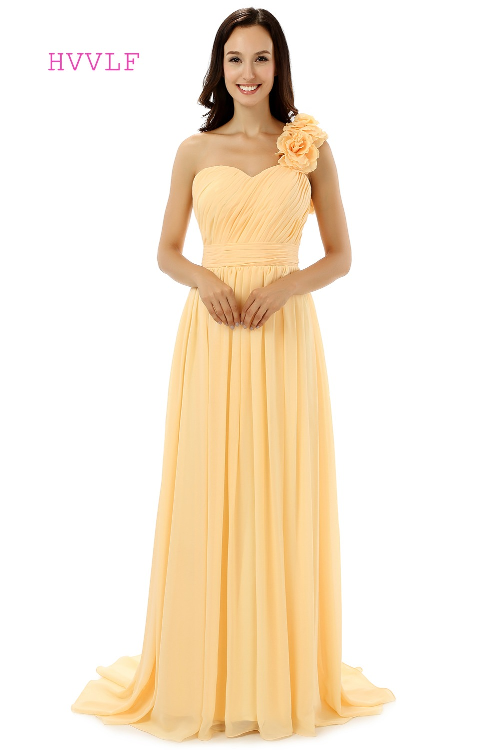 Online buy wholesale bridesmaid dresses under 50 from china hvvlf 2017 cheap bridesmaid dresses under 50 a line one shoulder floor length yellow ombrellifo Images