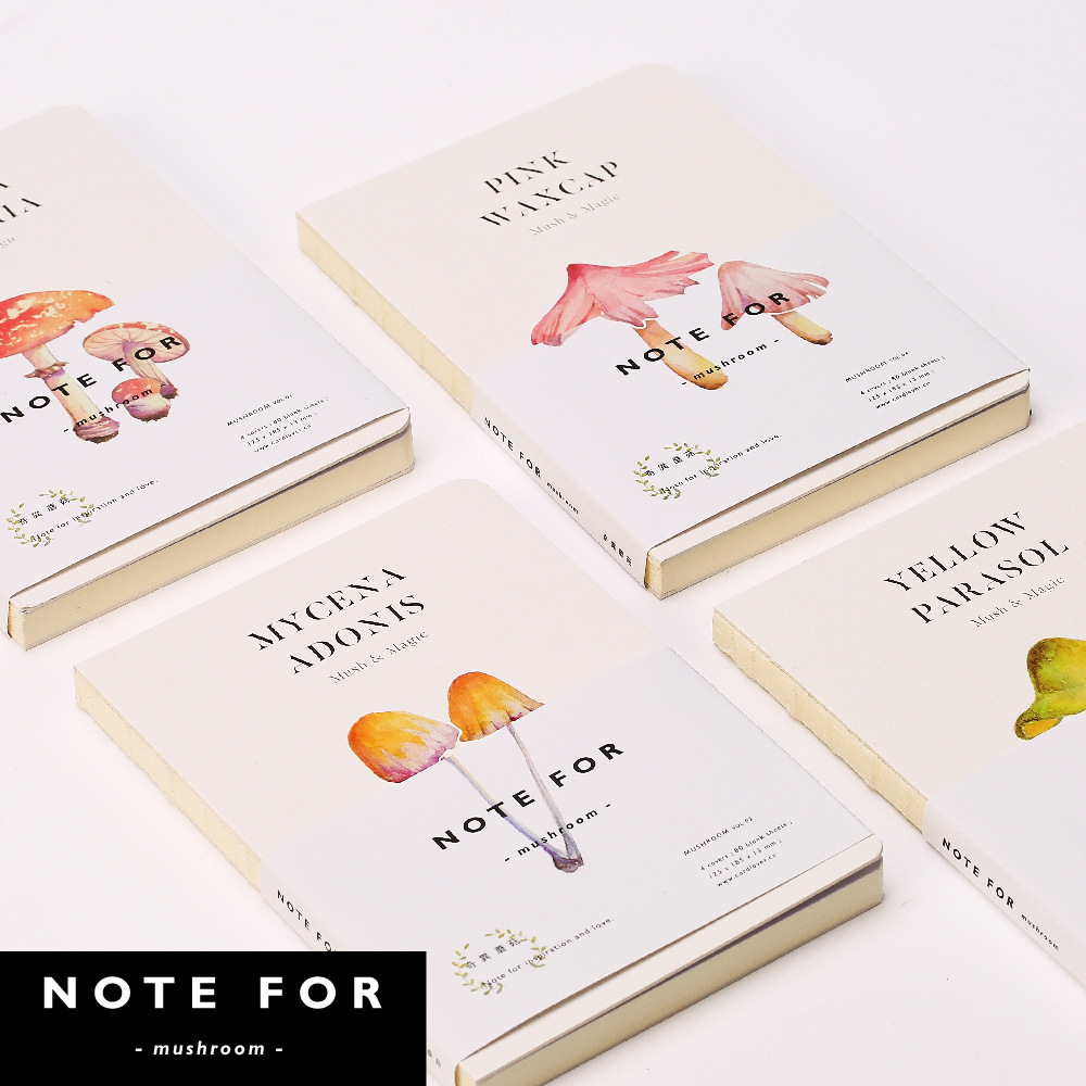NOTE FOR Mushroom A5 Notebook Blank Pages Note Book Sketchbook DIY Personal Diary Book Stationery Gifts creative trend dolphin notebook a5 color inside page note book sketch book graffiti diy diary japanese stationery