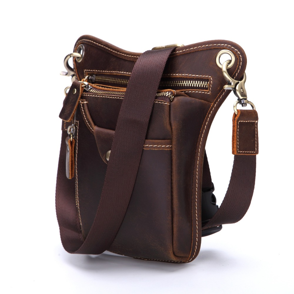 Nesitu High Quality Brown Vintage Genuine Leather Small Men Messenger Bags Crazy Horse Leather Shoulder Bags Waist Bag #M1753 nesitu high quality vintage dark brown genuine leather men bag crazy horse leather small men messenger bags shoulder bag m7051