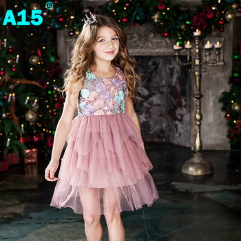 A15 Kids Girl Ball Gown Dress 2017 Toddler Girl Summer Lace Dress 6 8 10 12 Year Princess Birthday Party Dress Children Clothing