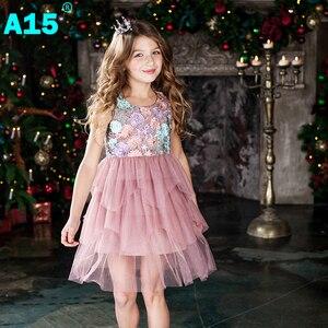 Image 2 - Vestido de fiesta A15 para niña 2017, vestido de encaje de verano para niño niña, vestido de fiesta de cumpleaños de princesa 6 8 10 12 años, ropa para niños