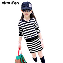 12 year old girl autumn sweater 5 Princess Dress 6 long sleeve 9-10 children cotton striped skirt