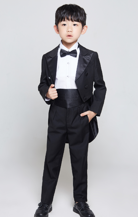 New Teen Boy Black FORMAL Wedding Prom Party Tuxedo Suit Gold Bowtie Set 16-20