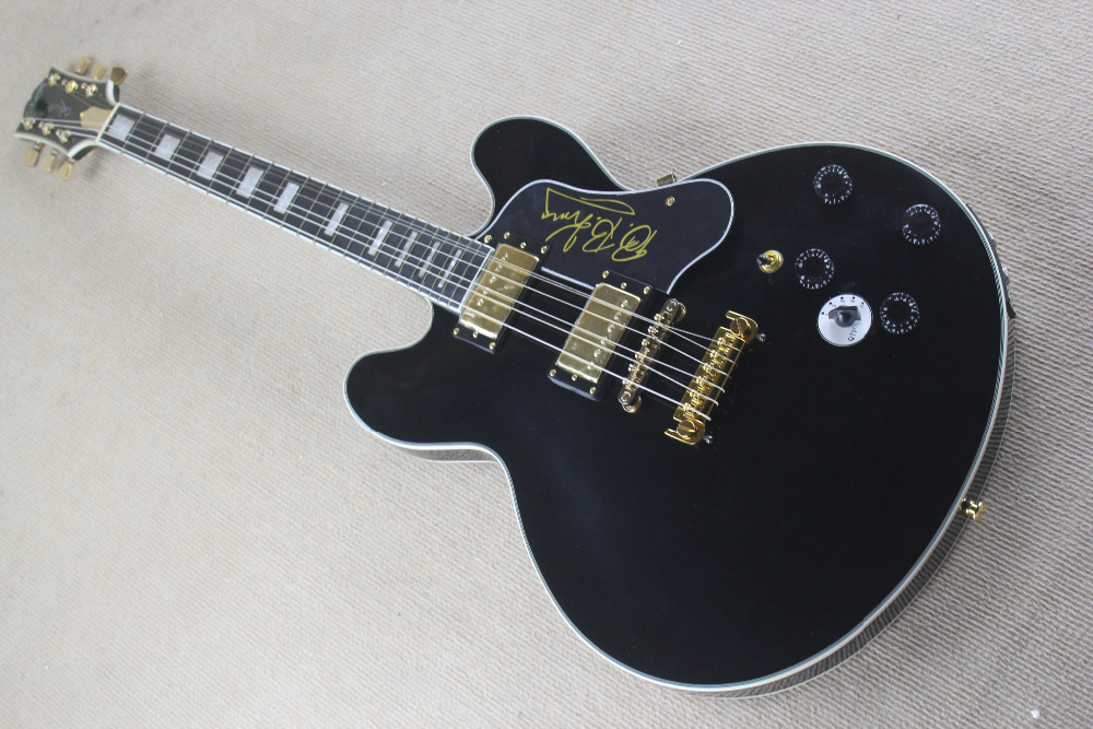 Top quality custom 5 speed switch B B King Lucille black Jazz Electric Guitar with Golden Hardware Ebony fingerboard