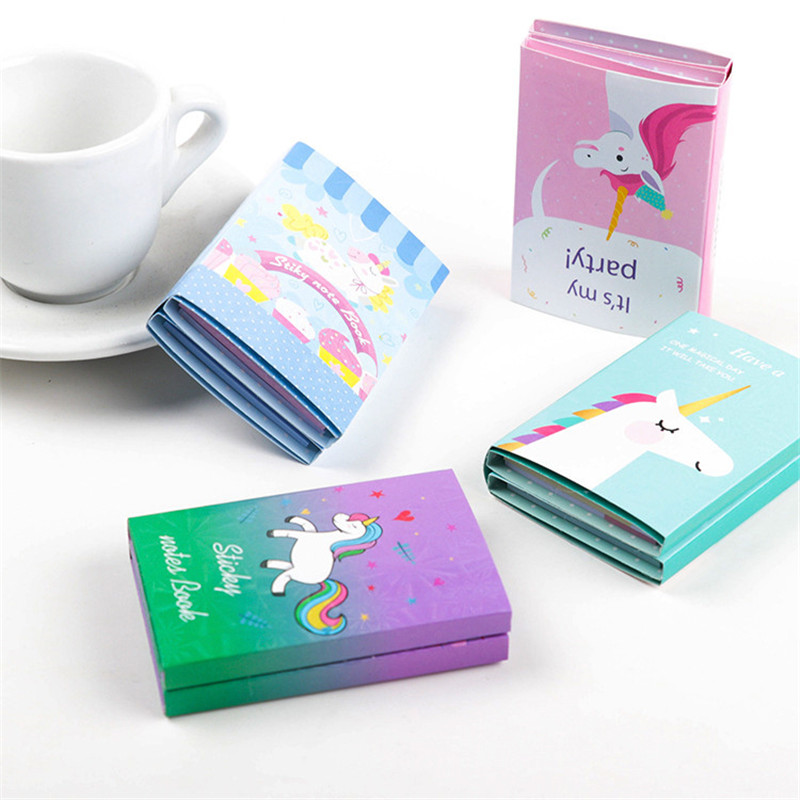 1 Pcs Cute Cartoon Unicorn Memo Pad Sticky Notes Self-adhesive School Supplies Stationery Paper Notepad Stickers Free Shipping