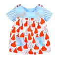 Meninas do bebê verão vestido listrado, de algodão macio vestido de princesa doce, 2 cores bonito padrão impresso, ao lado de roupas estilo (1-6 anos)