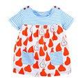 Verano de los bebés rayó el vestido, vestido de la princesa dulce de algodón suave, 2 colores diseño impreso lindo, al lado de ropa estilo (1-6 años)