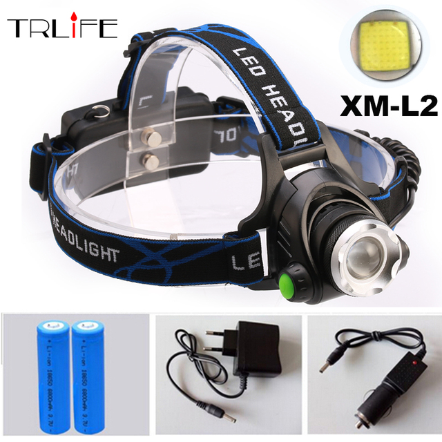 CREE XM-L2 LED 5000LM Aluminum Rechargeable Zoom Headlight Headlamp cree + 2x18650 Battery+AC Charger+Car charger