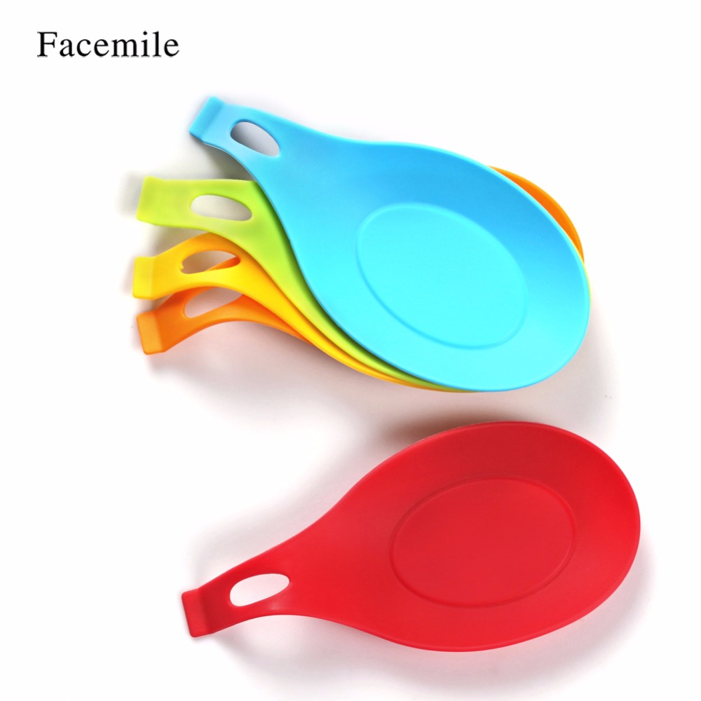 Facemile 1PCS Kitchen Utensil Silicone Insulation Spoon Rest Holder ...