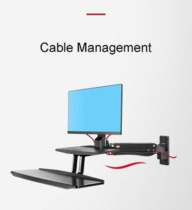Image 5 - NB MC55 ergonomiczna podstawka do siedzenia stacja robocza 24 35 calowy uchwyt monitora do montażu ściennego z składana klawiatura taca amortyzator gazowy