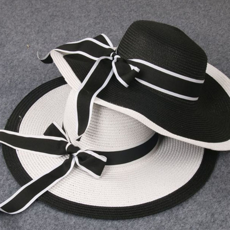 New Summer child Girl and Ladies Striped Bow Cap Big along hat Sun beach hat White