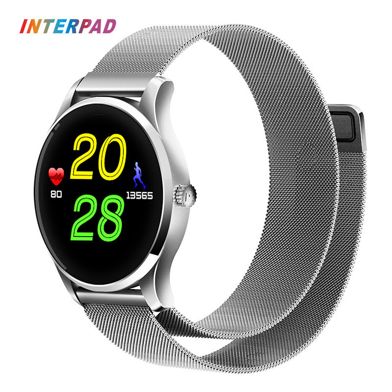 лучшая цена Interpad Sport Smart Watch K88H Plus Magnetic Suction Stainless Steel Strap Smartwatch Support Heart Rate Monitor Phone Clock