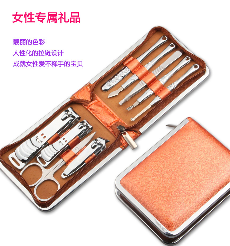 Nail Clipper Suit 9 pieces/Lot Multifunction Large Handbag Gift Box Nail Clippers Manicure Free Freight