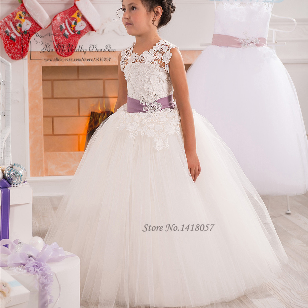 Spring Pretty Flower Girls Dresses For Weddings White Lace Girls