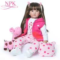 NPK 24 Inche 60cm Real Girls Baby Doll Realistic Soft Silicone Newborn Princess Doll Handmade Alive Vinyl Bebe Reborn Dolls Toys