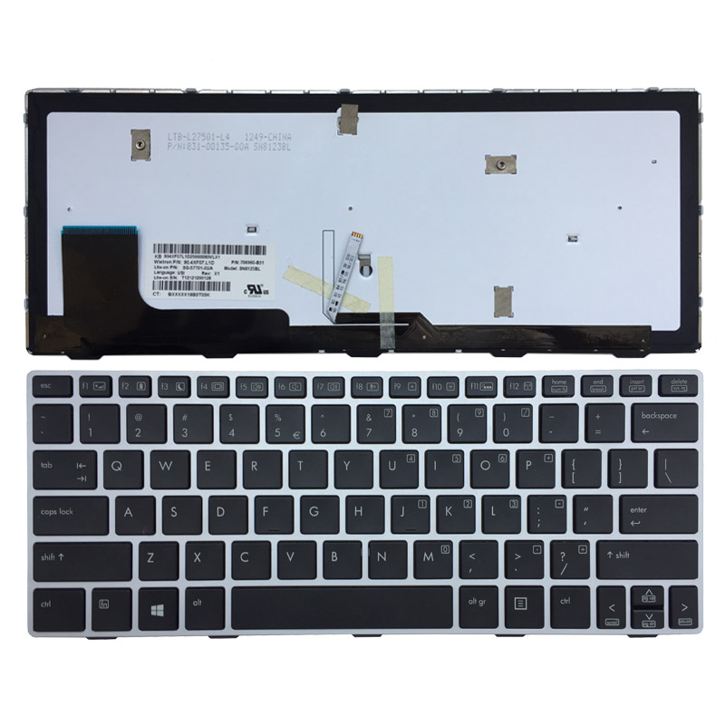 New US laptop Keyboard For HP Elitebook Revolve 810 G1 G2 G3 silver frame with backlit new keyboard for hp elitebook 820 g1 725 g2 us russian us belgium french swiss layout