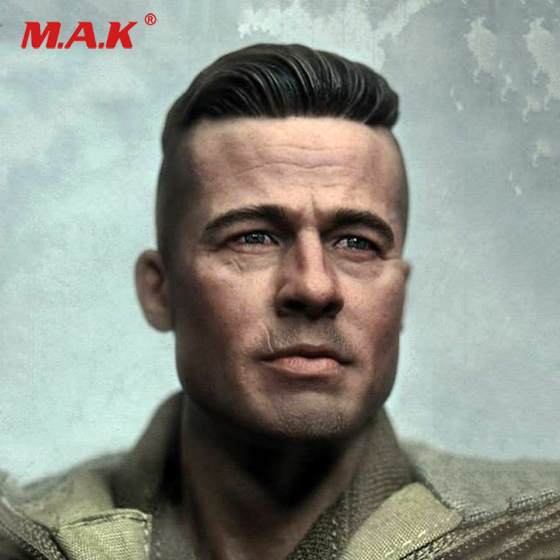 купить 1/6 Male Head Sculpt man head carved MG002 THE SOLDIER Brad Pitt furious fury tank figure Model Fit 12 Action Figure Body
