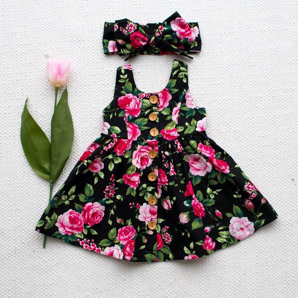 Summer Printed Floral Baby Girl Dress Newborn Infant Clothes Sleeveless Button Flower Birthday Princess Dresses Sundress