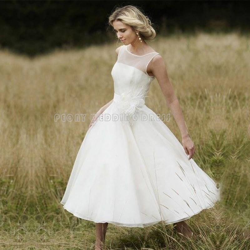 simple short flower chiffon wedding dresses elegant tea length wedding dress women bridal dresses cheap wedding