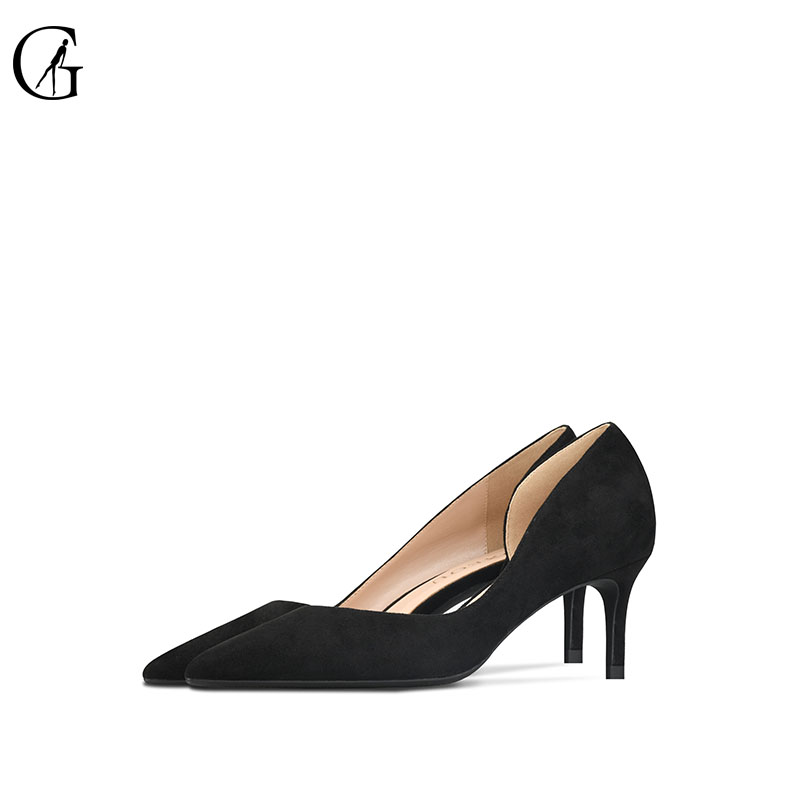 GOXEOU 2019 New Women shoes Thin High Heels Sexy Pointed Toe Slip on Wedding Office suede